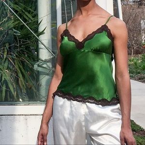 Gold Hawk Tops - Brown Lace/ Green silk camisole